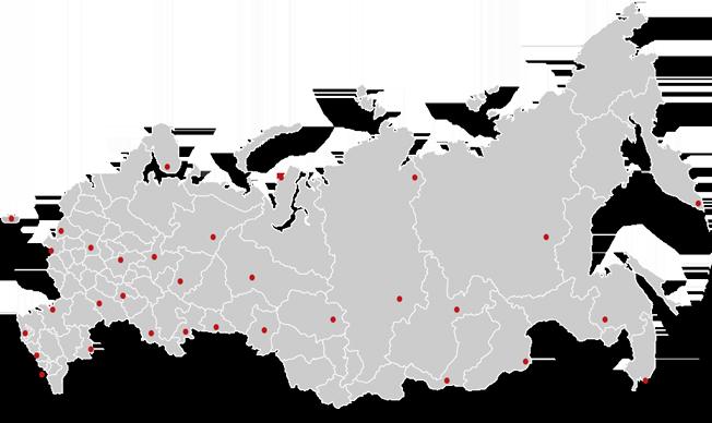 Карта городов России, где представлены проекты компании Wekey